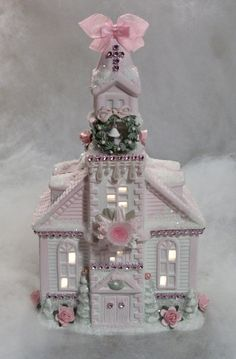 My shabby chic style lighted Christmas village church