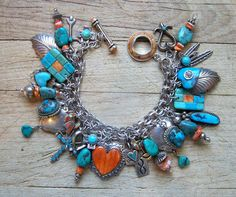 Sterling Silver Charm Bracelet With Native American Turquoise And Spiney Oyster Charms