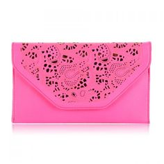 Career Women's Clutch With Solid Color Covered Closure and Openwork Design