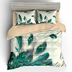 BOMCOM Digital Printing Group of Peacock Feathers Flying in the Corner , top view Duvet Cover Sets Blue Ivory (California King, Peacock Feathers Corner) Teal Bedding Sets, Peacock Bedding, Duvet Cover Sets, Pillow Covers, Cute Room Decor, Feather Design, Blanket Cover, Peacock Feathers, Blue Ivory