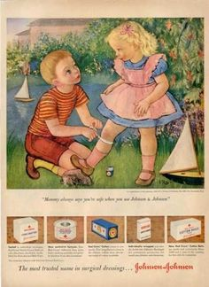 vintage ads 1950s | Gladys Rockmore Davis Art Children Play Nurse Ad T (1950)