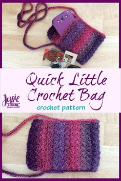 Quick Little Crochet Bag   This Quick Little Bag is just that, and it came about due to a lack of pockets! I made a new sample for the pattern that is a little thinner, longer, and has a flap. Enjoy!    JessieAtHome Double Crochet, Single Crochet, Crochet Hooks, Free Crochet, Red Heart Unforgettable, Crochet Shoulder Bags, Big Shoulders, Easy Crochet Patterns, Little Bag