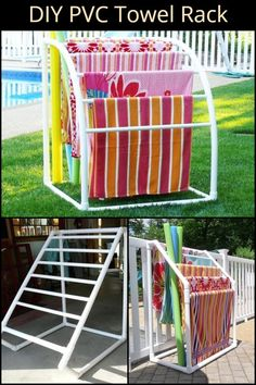 DIY Nautical Towel RackDIY Nautical Towel Rack by Pretty Handy GirlThis multi-purpose towel rack is made out of PVC plumber's type.This multi-purpose towel rack is made out of PVC plumber's type.Remove every other slat from Pool Towel Holders, Towel Rack Pool, Pool Towels, Pvc Towel Drying Rack, Pool Organization, Diy Projects Pvc Pipes, Pvc Pool, Pool Storage, Beach Towel Storage