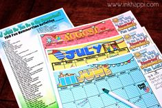 Summertime fun ideas and free printable planning calendars! List of 100 fun summertime activities! From Inkhappi.com on TodaysCreativeBlog.net