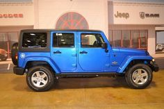 2014 Jeep Wrangler Unlimited Sport - Electric Blue - SHARP! Lift and add some black rims.
