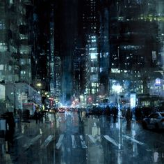 pinterest.com/fra411 #art - Gritty New Cityscapes by Jeremy Mann San Francisco painting New York cityscapes