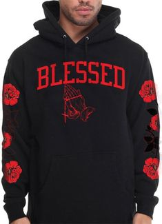 Buy CaliDesign Men's Blessed Hoodie With Roses On Sleeve Blessed Designer Pullover Sweatshirt Stylish Hoodies, Comfy Hoodies, Hooded Sweatshirts, Stylish Mens Outfits, Swag Outfits, All Red Nike Shoes, Hype Clothing, Drake Clothing, Hoodie Outfit