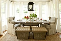 French burlap storage ottomans... Cozy dining