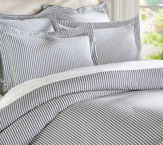 Thatcher Ticking Stripe Duvet Cover & Sham - Navy Blue | Pottery Barn