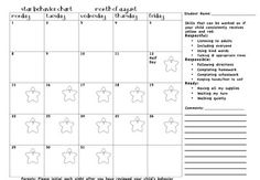 Behavior Calendar, monthly. Teacher marks toward end of day, Ss bring home and parents initial nightly!   From: tattling to the teacher: organization