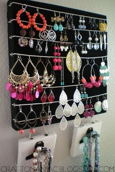 DIY- Earring & Necklace Holder                                                                                                                                                                                 More