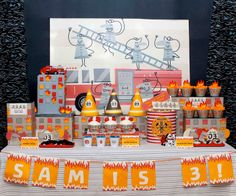 This collection of fireman birthday party ideas will provide lots of inspiration for your budding fireman party. It's a bright, exciting and fun filled party theme. Birthday Party Desserts, 3rd Birthday Parties, Birthday Party Decorations, Boy Birthday, Birthday Ideas, Cake Party, Kid Parties, Third Birthday, Fireman Party