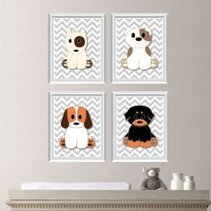 Dog Puppy Theme Chevron Quad Baby Decor Nursery Boy Dogs Puppies You Pick The Size Ns 153