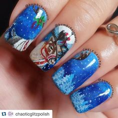 """""""#Repost @chaoticglitzpolish with @repostapp. ・・・ @Regrann from @bombchelenails -  I'm back! We had a nice flight last night. I tried to redo the background  on this today because I wasn't happy with the previous one. I used @chaoticglitzpolish ' True Blue' as a base but then it was covered with acrylic paints. Oh well. This is also for #clairestelle8dec"""