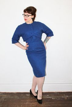 b6a3112fcfff Vintage 1950s dress suit . True Blue . 50s   60s Capsule Outfits