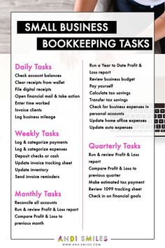 Starting a business tips - Have you been blowing off your small business bookkeeping? Check out this list of small business bookkeeping tasks and get your accounting organized. Click through to get a printable version with a bonus Annual tasks section! Small Business Bookkeeping, Small Business Plan, Small Business Marketing, Starting A Business, Marketing Ideas, Online Business, Craft Business, Marketing Logo, Event Marketing