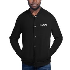 Give your streetwear look an update with this embroidered Champion bomber jacket. The detailed embroidery adds a unique twist to the classic bomber jacket, resulting in a truly distinct fashion item thatll become a favorite in your wardrobe. Streetwear, Champion, Embroidered Bomber Jacket, Black Bomber Jacket, Men's Jacket, Manga, Chef Jackets, Trending Outfits, Mens Tops