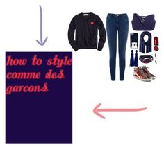 """Comme Des Garçons"" by gbs186 ❤ liked on Polyvore featuring Comme des Garçons, Warehouse, Vera Bradley, Kate Spade, Love Quotes Scarves, Tory Burch, Golden Goose and creepyheartshirt"