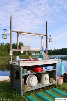 Outside Sink, Summer Kitchen, Outdoor Living, Outdoor Decor, Old Doors, Kitchenette, Beach Cottages, Outdoor Cooking, Outdoor Projects
