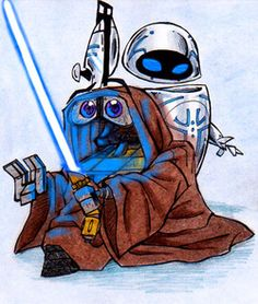 E and Star wars combine together is awesome sauce!E and Star Wars crossovers (c) Disney/Pixar , WALL.E Star Wars (c) LucasArts Disney Stars, Disney Star Wars, Disney Love, Disney 2015, Star Wars Meme, Star Wars Art, Wall E, Pixar Characters, Star Wars Characters