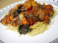 Pasta Sauce with Sun-Dried Tomato Chicken Sausages, Spinach and Onion