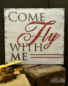 Nursery Art – Vintage Airplane Art – Aviation Art – Nursery Wall Art – Come Fly With Me – Office Decor – Travel Theme - Modern Airplane Crafts, Airplane Art, Aviation Theme, Aviation Art, Aviation Quotes, Nursery Signs, Nursery Wall Art, Nursery Office, Nursery Decor