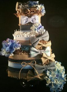 3 Tier Baby Boy Blue Jay DIAPER CAKE w/ Bow ties by TiersofJoybyUs