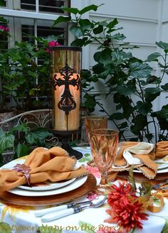 Celebrate autumn with a table set in the colors of fall (Between Naps on the Porch)