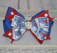 New York Rangers Inspired Hair Bow, Sports Hockey Team Hair Bow