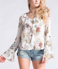 Fashionomics Off-White Floral Bell-Sleeve Peasant Top | zulily