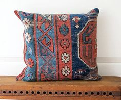 Oriental Carpet Pillow Navy and Pink by JwrobelStudio on Etsy, $42.00