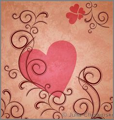 pink heart on brown grunge paper background with flourishes and curves     http://www.tpt-fonts4teachers.blogspot.com/2013/01/san-valentines-day-free-clip-arts.html