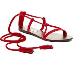 Steve Madden Silys Ankle Tie Sandal ($50) ❤ liked on Polyvore featuring shoes, sandals, red, red sandals, open toe sandals, red suede flats, steve madden sandals and suede flats
