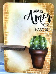 Stencil Art, Stencils, Decoupage, Country Paintings, Cactus Art, Painting On Wood, Handicraft, Planter Pots, Succulents