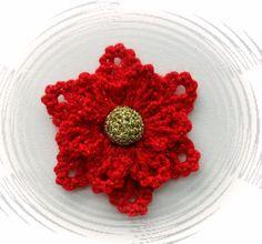 CROCHET BROOCH APPLIQUE GLITTER FLOWER CHRISTMAS FLOWER POINSETTIA** in Crafts, Crocheting & Knitting, Other Crocheting & Knitting   eBay