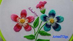 Bordados a mano: Flores en Puntada Larga y Corta - Punto Matiz | Artesd'...