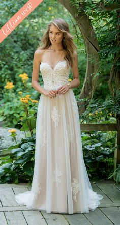 bd68560b58 Style 66008  Scattered Lace Applique Sweetheart Strapless Gown