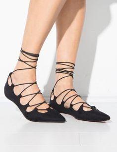 Suede Lace Up Flats  - Lace Tie Flats