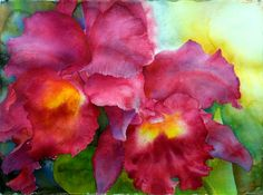 Paintings by Ross Barbera, Watercolor, Acrylic and Digital on Paper - Ross Barbera Watercolor Flowers, Watercolor Paintings, Watercolors, Painting Flowers, Acrylic Paintings, Paintings I Love, Beautiful Paintings, Iris Art, Red Orchids