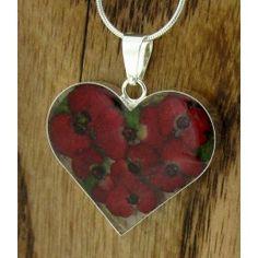 Heart Poppy Silver Flower Pendant (Large) (286) | Silver Bubble: https://silverbubble.co.uk/poppy-heart-silver-flower-pendant-large-311