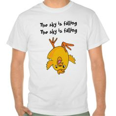 AE- Funny The sky is falling chicken shirt (more styles available) #cartoon #shirt #cartoonshirt