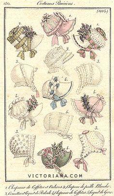 Hats and bonnets, French, 1812. http://patchworkconpatrones-donny.blogspot.com.ar/