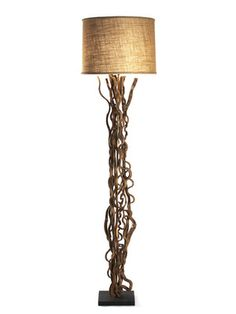 DIY Inspiration: Vine Floor Lamp:  *Tall vine root floor lamp with beige shade  *Measures 10 inches square at base by 77 inches in height  *Wipe with a dry cloth    Brand: Zentique    Material: Wood, metal    Origin: Imported