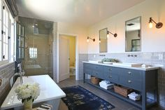 The master bath in Michael C. Hall's Los Angeles home features a steam shower and separate toilet room.