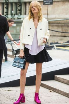 Hanne Gaby in YSL pink glitter boots.
