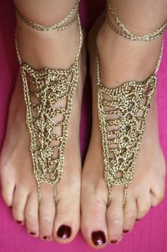 Tan barefoot sandals, Crochet Barefoot Sandals, Nude shoes, Foot jewelry,  Beach wedding sandals, Belly dance, Steam punk,  Anklet. $15,00, via Etsy.