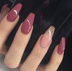 pink nails with glitter idea