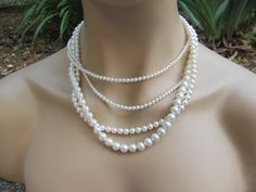 Bridal Jewelry Set Multi Strand Necklace White Pearls Swarovski Pearl Necklace & Earrings Wedding Jewelry