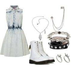 """""""Denim Dress, and White Dr.Martens"""" by allyclaire on Polyvore"""