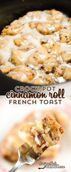 Crock Pot Cinnamon Roll French Toast – Recipes That Crock! Crock Pot Cinnamon Roll French Toast is the best crock pot cinnamon roll casserole I have ever had! There are never any leftovers when we serve this up for breakfast or dessert. Cinnamon Roll Casserole, Crockpot Breakfast Casserole, Breakfast Crockpot Recipes, Bread Crockpot, Recipes Dinner, Dessert Recipes, Crockpot French Toast, Cinnamon Roll French Toast, Cinnamon Rolls